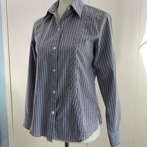 Foxcroft 4 wrinkle free fitted button blouse gray
